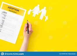 Mock Application Form Application Form For Adopt Child On Yellow Background Top