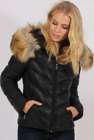 Quilted Coat with Faux Fur Hood Trim - Ester & Black Quilted Coat with Faux Fur Hood Trim - Ester Adamdwight.com