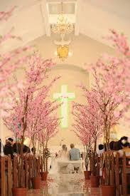 ceremony decor dreamy cherry blossom trees lined the church s
