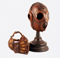 thumb bob basset brown pilot 4 art leather steampunk gas mask 7