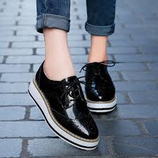 spring women platform shoes woman brogue patent leather flats lace up footwear female flat oxford shoes