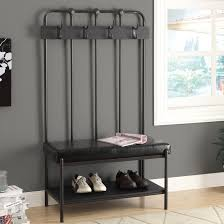 entryway furniture sets. Gray Metal Freestanding Entryway Furniture Set With Leather Padded Regard To Bench And Coat Rack Sets
