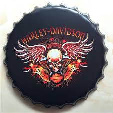 Harley Davidson Signs Decor Davidson Round Signs Beer Bottle Cap Tin Signs Stickers Hanging 65