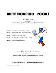 Metamorphic Rock Classification Chart Metamorphic Rocks Math Science Nucleus