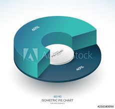 60 Pie Chart Infographic Isometric Pie Chart Circle Share Of 60 And 40
