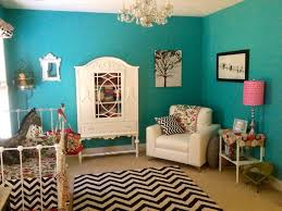 Beautiful turquoise walls set a great backdrop for black & white chevron  accents. #turquoise