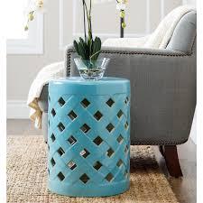 outdoor garden stool ideas glazed ceramic garden stool raised dot pattern trims the top bottom