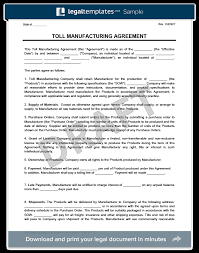 Toll Manufacturing Agreement Template Create A Free Agreement