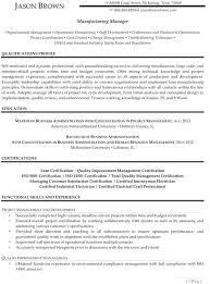 Manufacturing Skills For Resume Senior Project Manager Resume