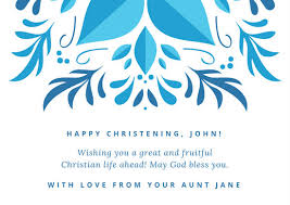 Baptism Card Template White And Blue Ornamental Flower Graphic Baptism Card