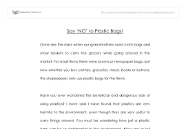 say no to plastic bags gcse english marked by teachers com document image preview