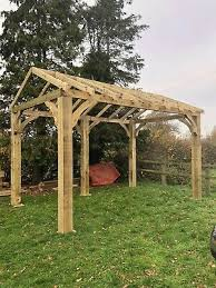 4 8m x 3m wooden car port bbq hot tub shelter with curved brackets