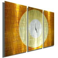 large copper 3 panel wall clock modern contemporary metal art sculpture clocks uk