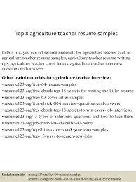 Samples Of Agriculture Resumes Best Sample Resumes Top 8 Agriculture Teacher Resume Samples