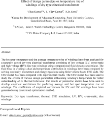 Transformer Design Parameters Effect Of Design Parameters On Temperature Rise Of Windings