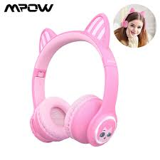 Mpow Bluetooth 5.0 Không Dây Tai Nghe Trẻ Em Tai Nghe Với Âm Lượng Hạn Chế  LED Tai Nghe Tai Mèo Màu Hồng Có Dây 3.5Mm Tai Nghe Cho bé Gái