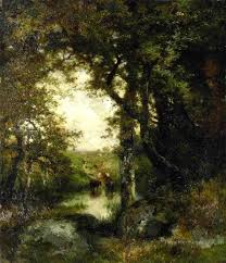 pool in the forest long island landscape thomas moran oil paintings
