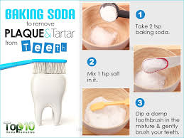 sodium bicarbonate is a great home remedy for removing plaque it neutralizes acids in the mouth thereby reducing the amount of harmful bacteria