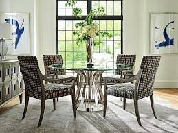 48 round table riviera round glass top dining table with base in platinum finish c 48