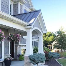 Good Shingle Style Home With Front Porch With Portico, Tapered Column In Grey  Shingles U0026 Stone By @carolineondesign