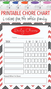 Chore Charts For Adults Printable Free Printable Family Chore Chart Set With 6 Colors Sunny