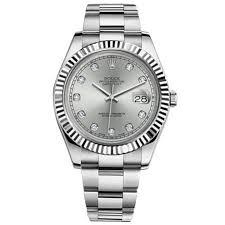 rolex datejust ii silver diamond dial 18k white gold fluted bezel rolex datejust ii silver diamond dial 18k white gold fluted bezel oyster bracelet mens watch 116334sdo