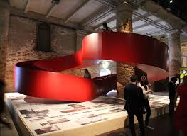 Suspended Walkway Design C S Architects Installs Red Walkway At Venice Biennale