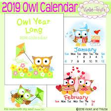 Desk Calendar Printable 2019 Desk Or Cd Owl Calendar Instant Digital Download
