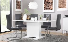 white dining room table. Osaka White High Gloss Extending Dining Table - With 6 Perth Grey Chairs Room