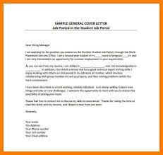 Sample General Cover Letter For Resumes 9 10 Basic Cover Letter Samples Free Tablethreeten Com