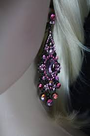 black filigree victorian ornate pink crystals chandelier dangle post earrings 3 5 dangle length