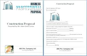 Free Construction Proposal Template Printable Contractor Bid Forms