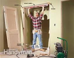 How to frame a closet Autumnjohnw Photo 7 Level The Door Jamb 1101eveshamcourtinfo How To Build Wall To Wall Closet The Family Handyman