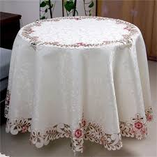 white embroidered cutwork jacquard fabric fl round table cloths home furniture dust covers