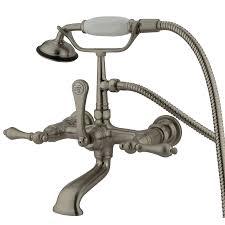 kingston brass vintage satin nickel 3 handle fixed mixer bathtub faucet
