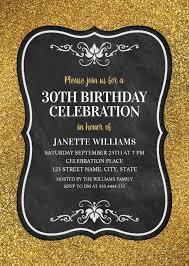 glitter 30th birthday party invitations chalkboard gold invitation templates