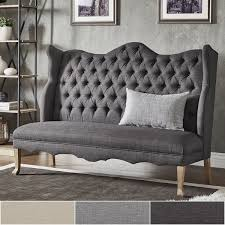 sawyer curved back tufted linen upholstered bench by inspire q artisan