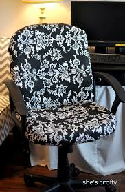 no sew office chair cover she s crafty recovered office chair