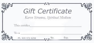 Customized Gift Certificates Gift Certificates Karen Strumos