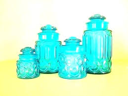 blue kitchen canisters set of 3 blue glass canister set blue glass kitchen canisters moon star