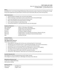 Digital Marketing Resume Template Job Resume Template For High