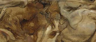 this is a detail from rubens coup de lance be aware the color of the underlying imprimitur changes the relative tint of asphaltum within its thinnest