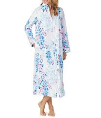 Carole Hochman Watercolor Floral Print Quilted Long Zip Front Robe