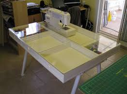 Sewing Machine Table - Quilts from Canaan & The top is made like a box with drawers and a clear Plexiglas top, which is  fitted around the sewing machine - thus the ... Adamdwight.com