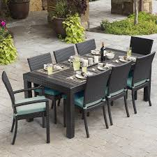 rst brands deco 9 piece brown wood frame wicker patio dining set with bliss blue