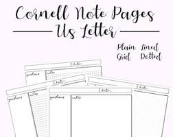 Line Notes Template Cornell Notes Etsy