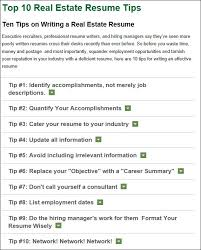 Real Estate Resume tips