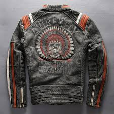 avirexfly men s punk style embroidery skulls leather motorcycle jacket vintage black genuine leather jacket men biker jacket