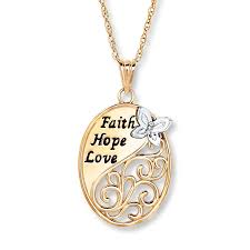 faith hope love necklace diamond accent 10k two tone gold tap to expand