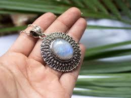 moonstone pendant silver sterling silver pendant rainbow moonstone